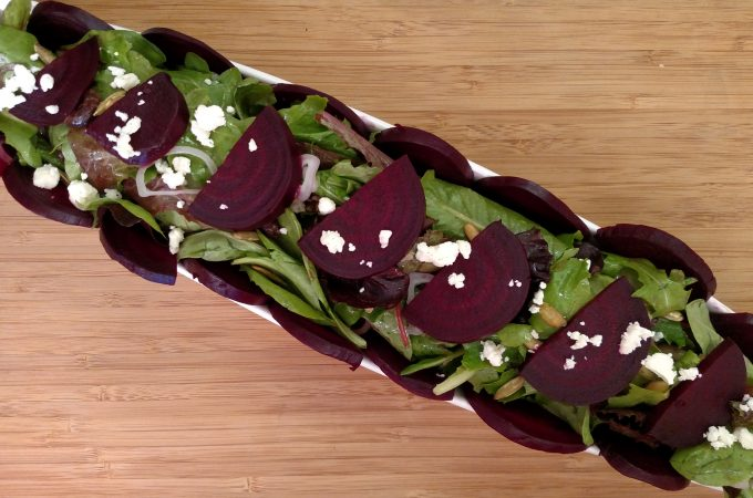 Oven-Roasted Beet Salad on long plate