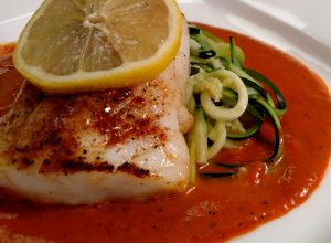 Broiled Cod with Roasted Red Pepper Coulis // Tiny Kitchen Big Taste // Michael Fucci