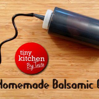 balsamic glaze on cutting board