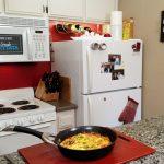 Frittata in pan in kitchen
