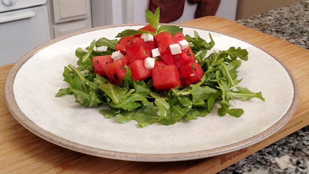 Arugula Feta Melon Salad // Tiny Kitchen Big Taste