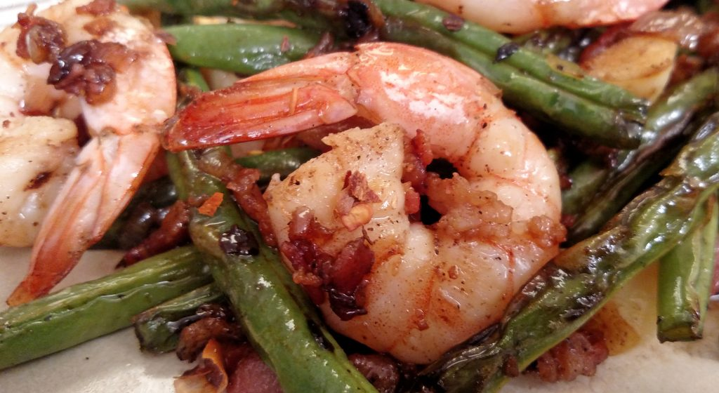 Bacon Blistered Shrimp and Green Beans // Tiny Kitchen Big Taste