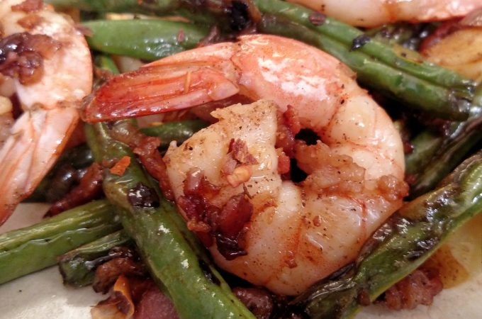 Bacon Blistered Shrimp and Green Beans