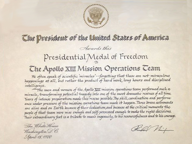 Presidential Medal of Freedom - Mission Operations Team