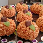 Pumpkin Rice Krispies Treats on a plate