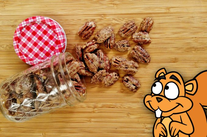 spilled jar of Candied Pecans on bamboo cutting board with 2D animated squirrel