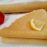 Folded Crepe, rolled crepe on a white plate
