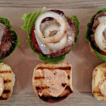 Hamburger Sliders on wood cutting board