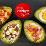 Avocado Baked Egg on Black Board with Tiny Kitchen Big Taste Logo