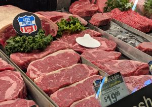 Display of New York Steak