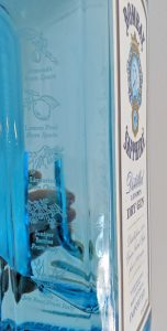 Bombay Sapphire blue bottle with etched ingredients