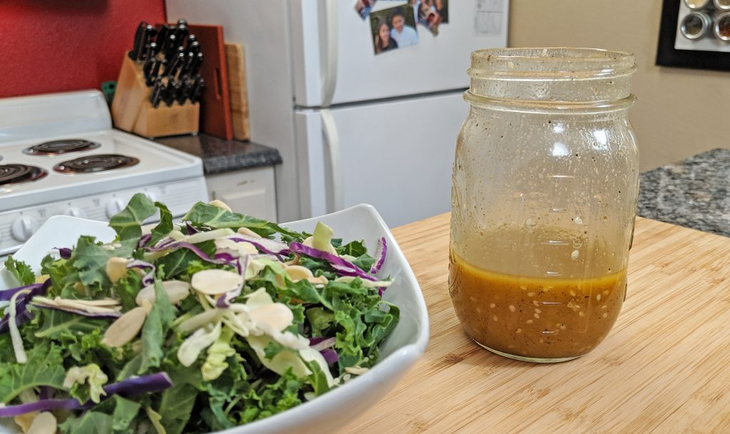 Salad and Salad dressing in a kitchen