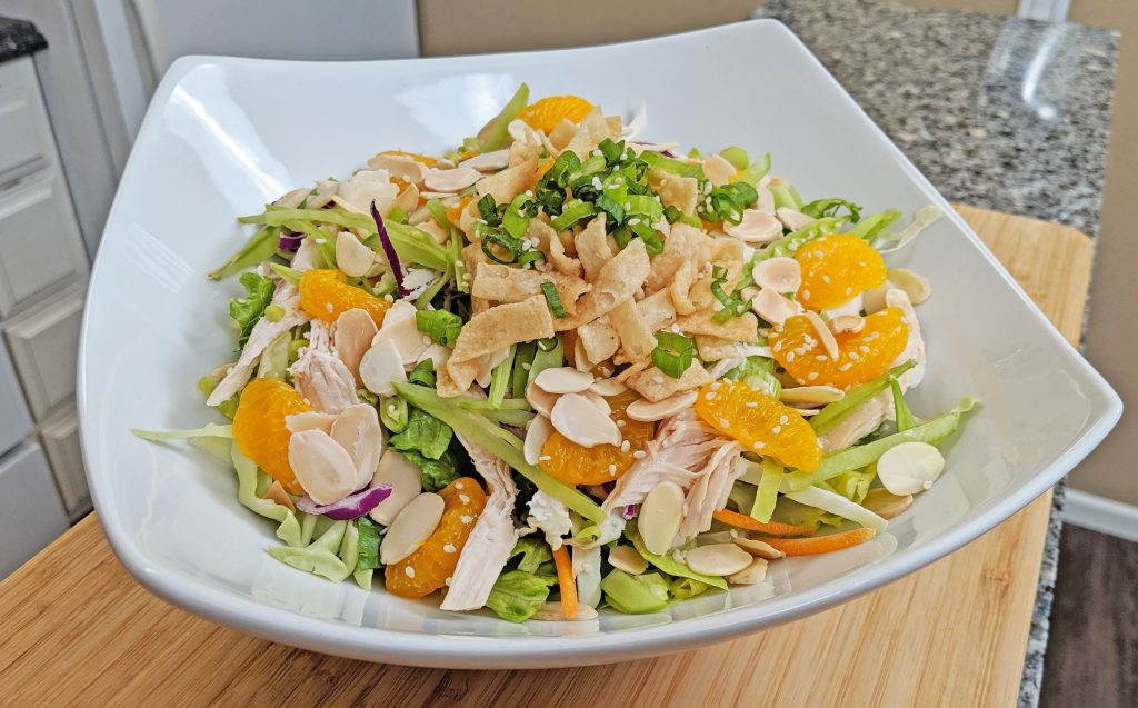 Chinese Chicken Salad in White Bowl