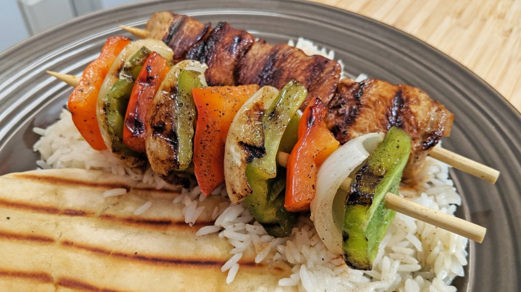 shish kabob, rice and pita