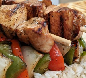 chicken kabobs and vegetables