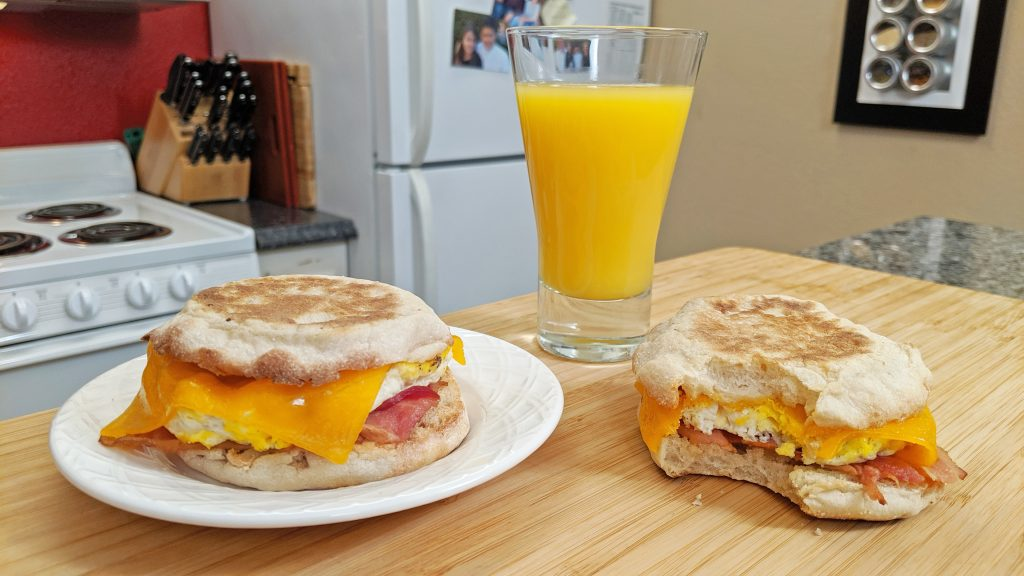 Breakfast Sandwich, orange juice