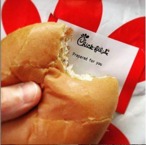 Chick-fil-A sandwich with bite